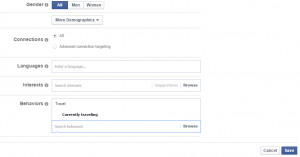 Targeting tourists in Facebook using: Currently Traveling option - Behaviors.