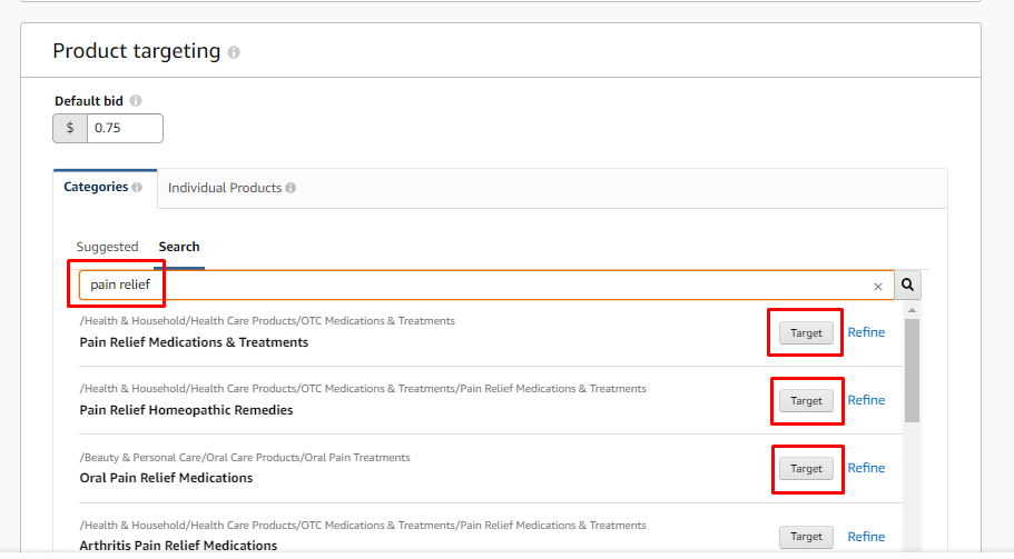 Amazon Detailed Product Targeting